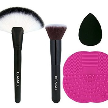 BS-MALL 4 PCS Flat Fan Makeup brushes Plus Makeup Brushes cleaner and 1 Pcs Sponger Blender