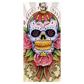 New Custom 35*70cm Bath Towels!Sugar Skull Printed Beach Towel /Soft Bamboo Fiber Drying Washcloth For Kids Men Women