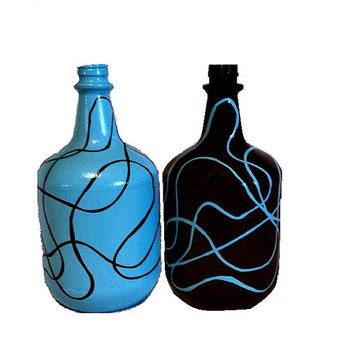 Abstract Glass Jugs Pair - Robin's Egg Blue and Black Swirls - Moonshine Jugs