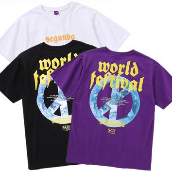 YouthCodes Segunda Gothic Letter World Final War Loving Peace T Shirts Men Streetwear Kanye West Punisher Flame Fire Religious