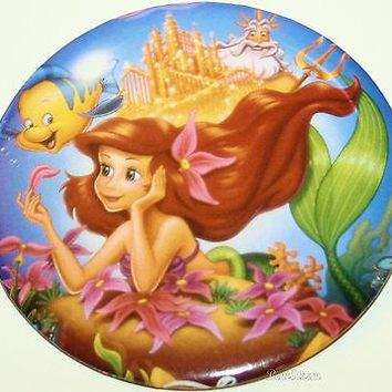 "Licensed cool 3"" Disney The Little Mermaid Button Ariel King Triton Flounder Fish Castle Pin"