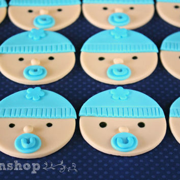 Baby cupcake toppers / baby face /baby shower