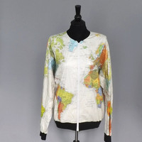 Vintage Retro 1980s 90s Wearin the World Seapunk World MAP Tyvek White Travel Hipster Atlas Oversized Jacket Seersucker Wind Breaker Hipster