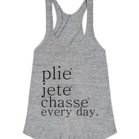 plie jete chasse blk racerback-Female Athletic Grey T-Shirt
