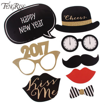 8pcs Glitter New Year 2017 Photo Booth Props Funny