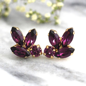 Purple Earrings, Amethyst Earrings, Bridal Purple Earrings, Cluster, Purple Earrings, Christmas Gift, Bridesmaids Earrings, Purple Studss