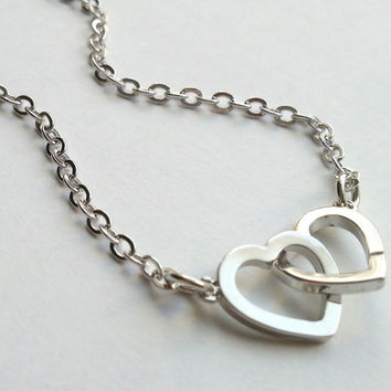 Double Open Heart Necklace Wedding gift, engagement gift, valentine's day, anniversary gift, girlfriend, love