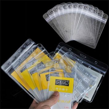 Best Selling 10Pcs Vertical Transparent Plastic Clear Exhibition ID Card Name Cards Badge Holder with Zipper Office Supplies New