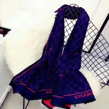 LMFUX5 Chanel Keep Warm Scarf Smooth Skin-friendly Scarves Winter Wool Beautiful Shawl Diamond Lattice Style #5