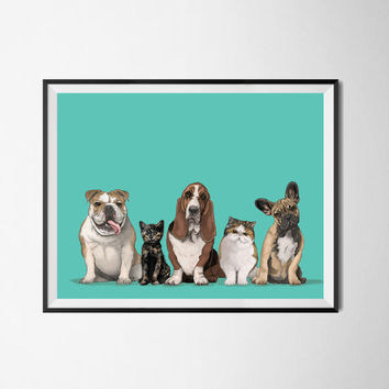 Five or Six pet portraits. Personalized dog portrait. Cartoon portrait. Portrait drawing. Custom illustration. Bespoke illustration.