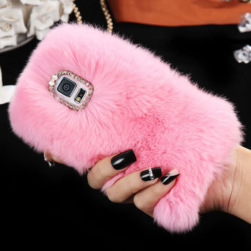 Fluffy Rabbit Fur Phone Case For Samsung Galaxy S5 I9600 S6 G9200 S6 Edge G9250 S6 Edge Plus