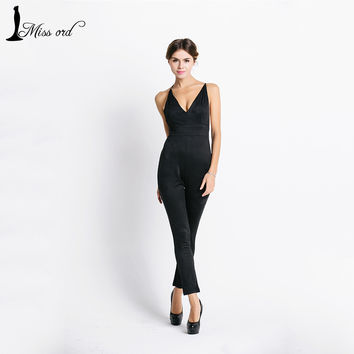 Missord Sexy deep v halter cross suede JUMPSUITS