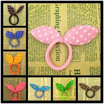 LMFGC3 2015 New 10pcs 45mm Super Cute Rabbit Ears Hair Holders Hair Accessories Child Girl Women Print Point Rubber Bands(Random Color)