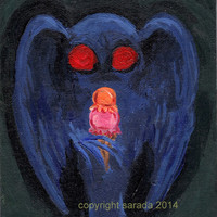 Mothman with ice cream cryptid art original painting 5 x 7 sci fi weird cryptozoology conspiracy geekery science fiction kitsch decor
