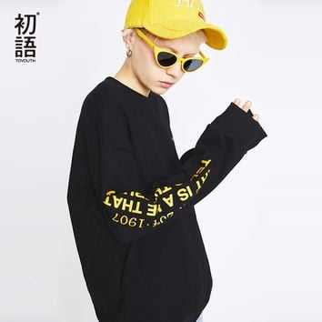 Toyouth Harajuku Side Letter Printed Long Sleeve Sweatshirts Women Cool Black Hoodies Loose O-Neck Tracksuits Female Pullovers