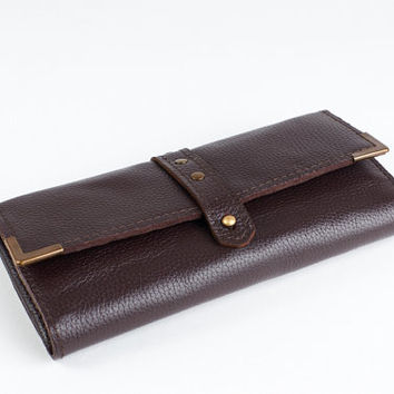 Women leather wallet in dark brown color. Mini leather clutch.