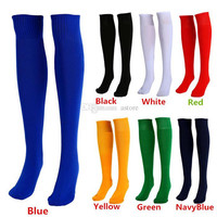 New Arrivals Men Women Adults Sports Socks Football Plain Color Knee High Cotton One Size PX252 Free Shipping