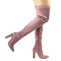 Madam07 Stretchy Chunky Block Heel Thigh High OTK, Over-The-Knee Pointy Toe Boot