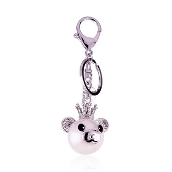 Happiness Crown Bear Crystal Keychain