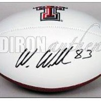 Wes Welker Signed Football - Texas Tech Logo White Panel | Authentic Autographed
