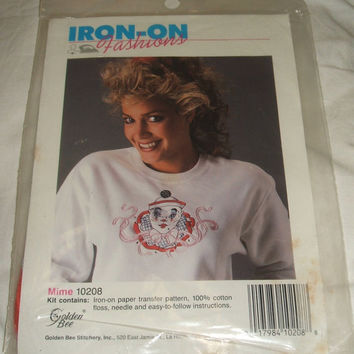 Iron On Fashions Transfer Pattern Mime Pantomime Clown Face Fabric Embroidery Kit Craft Sewing Shirt Design Stitch Golden Bee Stitchery