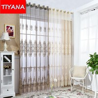 Luxury Beige Screening Sheer For Living Room Balcony Coffee Tulle Curtains For Kitchen Study Room Custom Made Yarn AG202&30