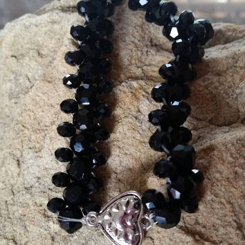 Plus Size Black Metallic Crystal Beaded Bracelet with Silver Filled Heart Slide Closure. Anniversary Present Mother's Day Birthday Gift Prom