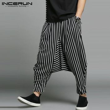 INCERUN Men Harem Pants Stripe Elastic Waist Joggers Hip-hopTrousers Men Baggy Streetwear Drop Crotch Cool Pants 2018 Plus Size