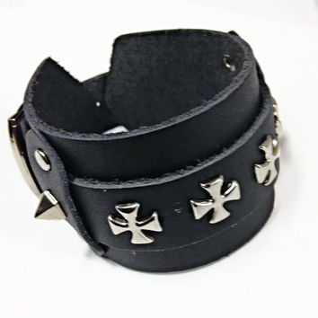 Studded Leather Cuff Strap Punk Bracelet - Genuine Leather with Silver Cross Studs