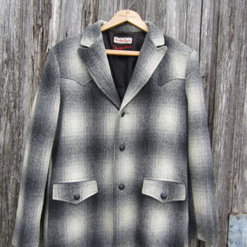 50s Plaid Wool Western Jacket, Men's M // Stockman's Weather Jack Western Wear // Cowboy Coat