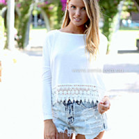 PRE ORDER - SNOW DROP TOP (Expected Delivery 5th August, 2014) , DRESSES, TOPS, BOTTOMS, JACKETS & JUMPERS, ACCESSORIES, 50% OFF , PRE ORDER, NEW ARRIVALS, PLAYSUIT, COLOUR, GIFT VOUCHER,,White,LONG SLEEVES Australia, Queensland, Brisbane