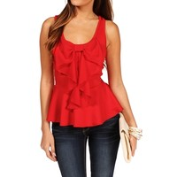 Red Bow Peplum Top