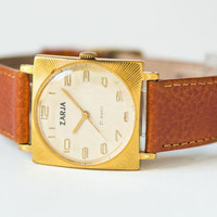 Super elegant gent's watch Dawn, gold plated case men's watch, ornament case men's watch, square tomboy watch, handmade leather strap new
