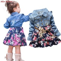 AiLe Rabbit 2017 INS Autumn Girls Dresses Floral Denim Long Sleeves Dress Flowers Belt Fashion Flying Sleeve Child's Dress Kids