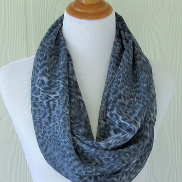 Infinity Scarf, Blue Leopard Animal Print, Women's Chiffon Scarf, Circle Scarf, Loop Scarf, Women's Scarves, Eclectasie