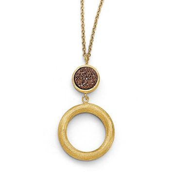 14k Yellow Gold Brown Druzy Disc & Open Circle Drop Necklace, 17 Inch