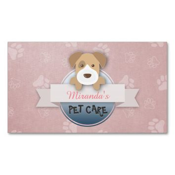 Cute Dog Pet Care Sitting & Grooming Beauty Salon Business Card