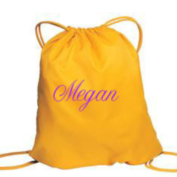 Drawstring Cinch Sack Backpack Yellow Monogram Gifts Under 20 Dollars