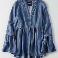 AEO Chambray Bell Sleeve Shirt , Blue