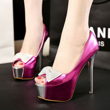 Rhinestone Princess High Heel Peep Toe Korean Shoes = 4814714564
