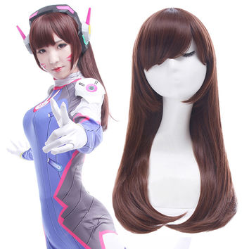 L-email Games OW D.VA Cosplay Wig  DVA Wigs Long Straight Dark Brown Synthetic Hair Wig