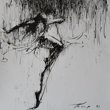 Black and white ballerina painting, Ballet dancer painting ink art on paper