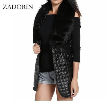 S-3XL Autumn Winter Sleeveless Blazer Black Leather Long Vest With Faux Fox Fur Collar Gilet Femme Cardigan Coat Women Chalecos