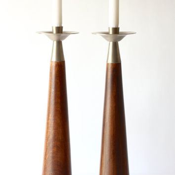 Vintage XL Candle Holders - Mid Century Modern Decor - Candlestick Holders