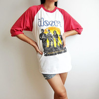 The Doors JIM MORRISSON Acid Rock Baseball T Shirt Raglan Red Sleeve Tee Shirts Size S