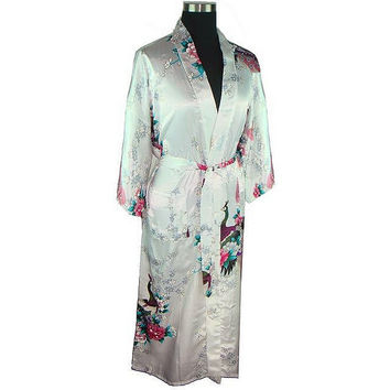 White Women Bath Bath Robe Gown Ladies Faux Silk Sexy Kimono Sleepwear Nightgown Plus Size M L XL XXL XXXL Pijama Mujer LS0001A