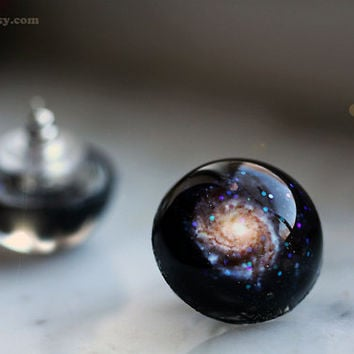 Galaxy Earrings, M101 Post Stud Round Orb Glitter Resin Dome Cosmic Astronomy Space Earrings Handcrafted Modern Space Jewelry by isewcute