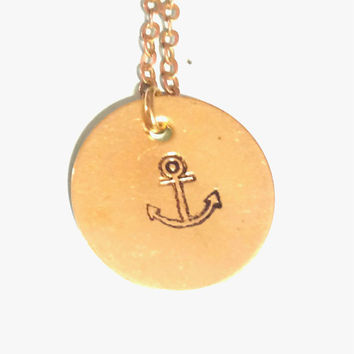 Hand Stamped Anchor necklace - Nautical Necklace -- Nautical Jewelry -- Small Necklace -- Everyday Necklace -- Layering Necklace