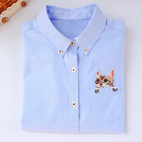 Solid Color Cat Embroidery Chest Pocket Button Down Shirt