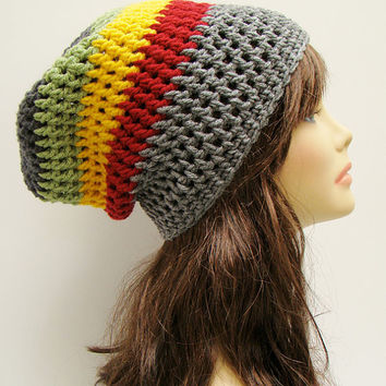 FREE SHIPPING - UNISEX Slouchy Crochet Beanie Hat - Reggae Rasta - Heather Gray, Charcoal,Red, Yellow Gold, Light Sage Green